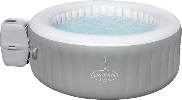 Bestway Lay-Z-spa St. Lucia Jacuzzi Opblaasbaar - Bubbelbad voor 3 personen - Incl Pomp en Afdekzeil - Ø170x66cm - Grijs