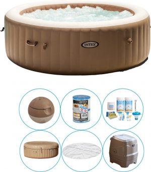 Intex - Bubble Massage - Jacuzzi - 216 x 71 cm - Beige - Inclusief Onderhoudspakket Small