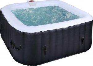 Jacuzzi opblaasbaar-Opblaasbare Hottub-Inflatable Spa-4 Personen- Vierkant -Zwart-Inclusief Afdekzeil